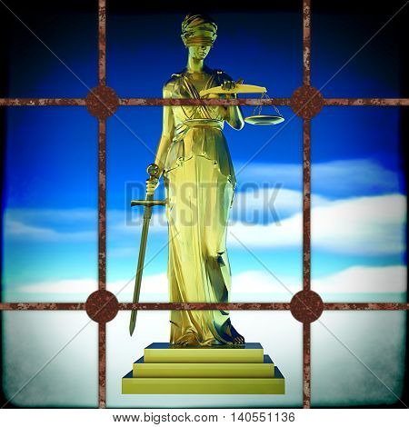 Themis behind bars 3d illustration