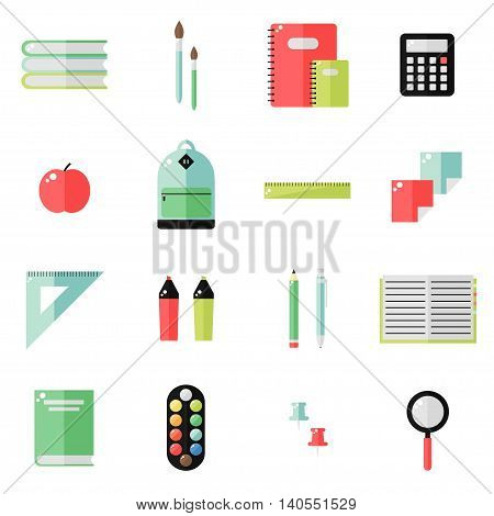 School supplies isolated icons on white background. School books, backpack, pencil, ruler notebook, paint, pen, marker, calculator, magnifier, apple. Education tools. Flat style vector illustration.