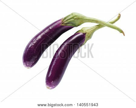Long fresh organic raw purple brinjal or eggplant or aubergine isolated on white background. Healthy and delicious purple eggplants background. Clipping path included.
