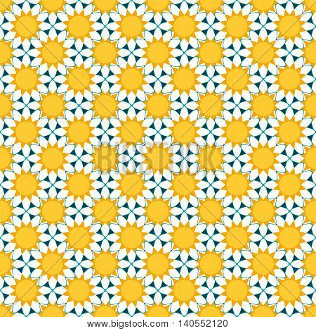 seamless pattern with abstract white chamomile flowers. vector