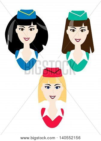 Vector stewardess icons. Simple air hostess avatar. Blonde brunette ginger woman in uniform. Elegant characters
