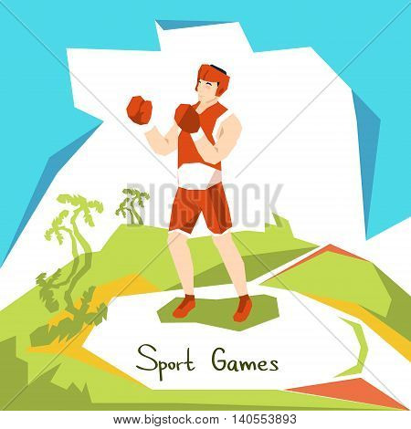 Box Athlete Boxer Sport Competition Flat Vector Illustration