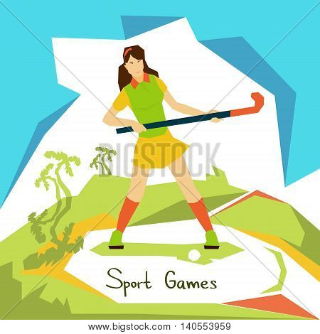 Field Hockey Player Woman Athlete Sport Competition Flat Vector Illustration