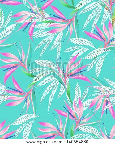 seamless watercolor exotic flowers pattern. Aloha and hawaii style floral. pink bird of paradise and heliconia plants.