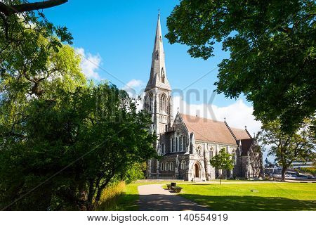 Copenhagen Denmark - July 20 2015: Longeline quarter the St. Alban church