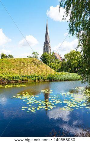 Copenhagen the St. Alban church seen from the Longelinie canal