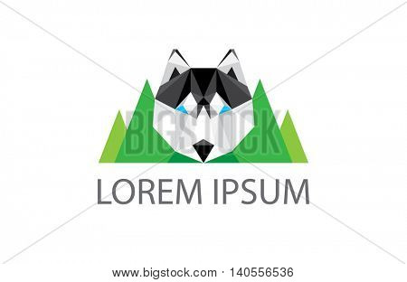 outdoor activity logo - husky dog head and green mountains landscape in the background - modern trendy low poly icon design - vector illustration