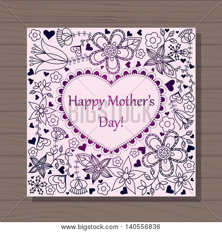 Vector happy mothers dat card with heart on wooden background