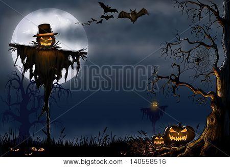 Halloween scene with an evil scarecrow, bats, a creepy tree on a misty moonlit night.