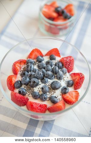 healhty greek Yogurt with fresh berries for breakfast