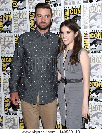 LOS ANGELES - JUL 21:  Justin Timberlake & Anna Kendrick arrives to the Comic Con 2016 - Trolls PhotoCall on July 21, 2016 in San Diego, CA