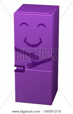 Purple smiling refrigerator isolated on white background. 3D rendering.
