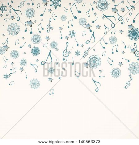 Vector Illustration of a Christmas Music Background with Music Notes and Snowflakes