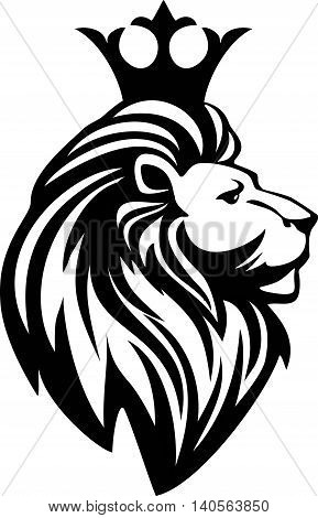 Black and white lion head with a crown