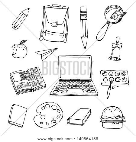 Handdrawn school related images. Vector illustration. Black drawing on a white background. Back to school concept