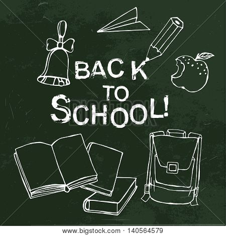Handdrawn school related images. Vector illustration. White drawing on a dark green textured background