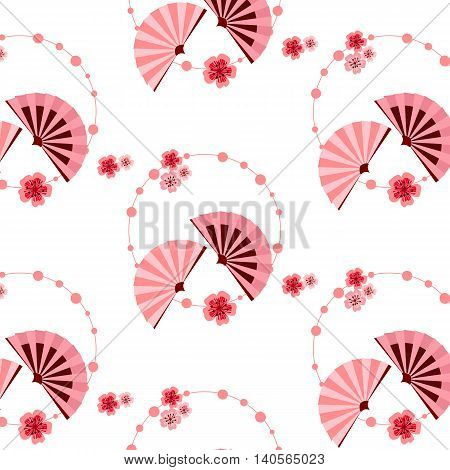 The pattern in the Japanese style with sakura flowers and pink fans. Ornament in the form of a circle of beads.