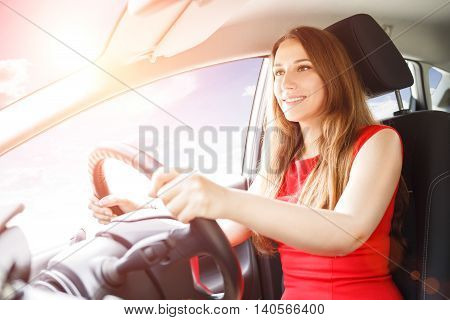 Young Lady Driving Car. Driving School Background