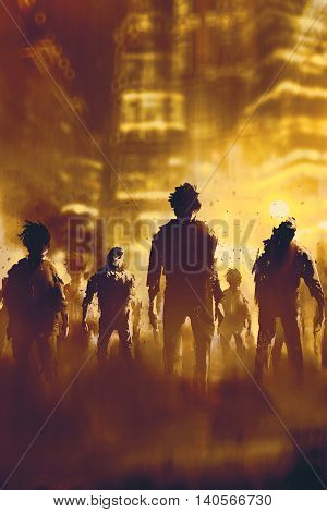zombie crowd walking in city at night, halloween concept, illustration painting