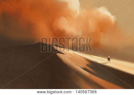 sandstorm in desert and hiking man, illustration, digital painting