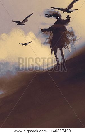 ghost with flying crows in the desert, illustration, digital painting