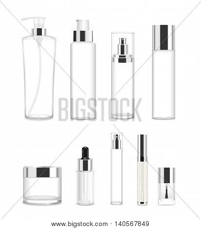 Collection of nine cosmetic acrilic or glass tubes isolated on white. Silver and white colors. Modern design. Place for your text. Detailed vector illustration