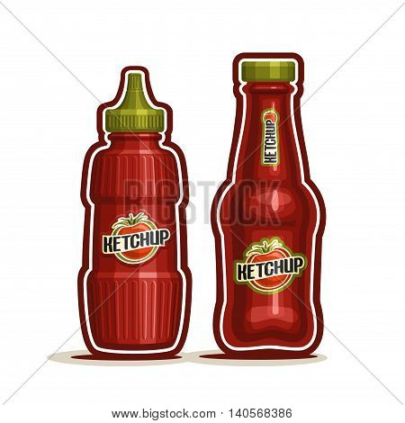 Vector logo Tomato Ketchup Bottle, red plastic squeeze jar squirt, glass cartoon container dispenser catsup paste, tomato ketchup bottle for kitchen american cafe bistro fast food on white background.