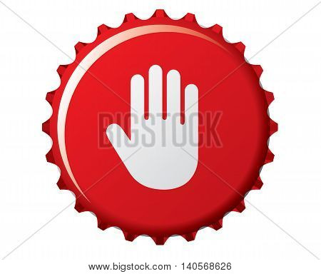 don't drink: stop hand on the bottle cap