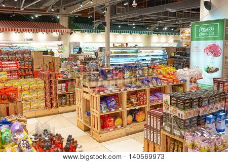 KUALA LUMPUR, MALAYSIA - CIRCA MAY, 2016: inside of a grocery store in Kuala Lumpur. A grocery store is a retail store that primarily sells food.