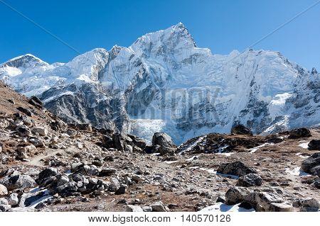 View of Nuptse from Khumbu Glacier near Gorak Shep Solukhumbu Nepal.