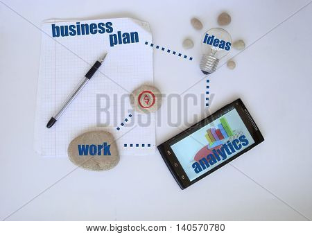 Bisness plan ready for work.Ideas. Business, Inspiration, Ideas, Concepts, Technology.