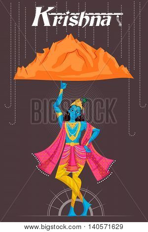 Indian God Krishna lifting mountain. Vector illustration