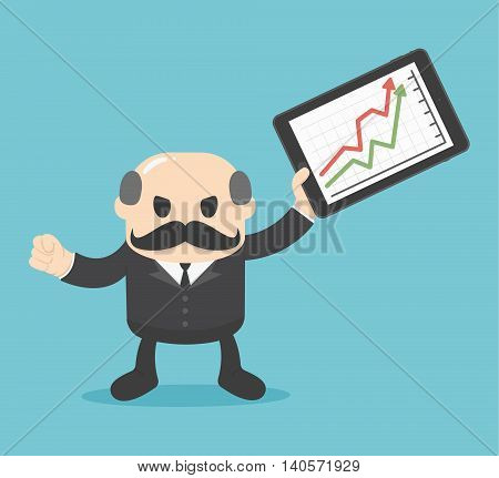 Business concept cartoon illustration  Successful business with a growing chart.