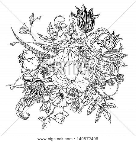 mandala shaped contoured flowers, leaves. black and white, for coloring book or poster colouring book style luxury roses in zenart style, could be used for Adult colouring book.