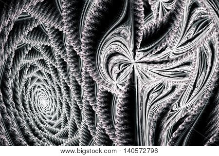 Abstract black and white terryfying swirling fractal
