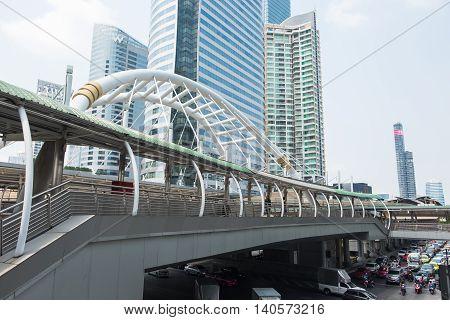 BANGKOK THAILAND - FEBRUARY 20 2016: Chong Nonsi skywalk at Bangkok skytrain station (BTS) on February 20 2016 in Bangkok Thailand. Chong Nonsi Station is a skytrain station on the Silom Line at Bang Rak District.