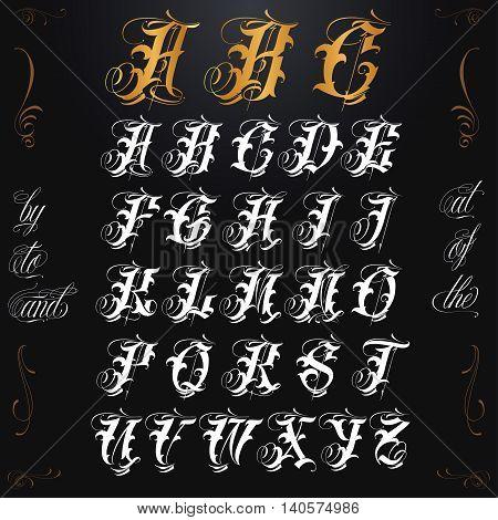 Hand drawn vector calligraphy tattoo alphabet set