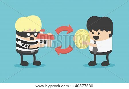 Business concept cartoon illustration Buying stolen goods eps . 10