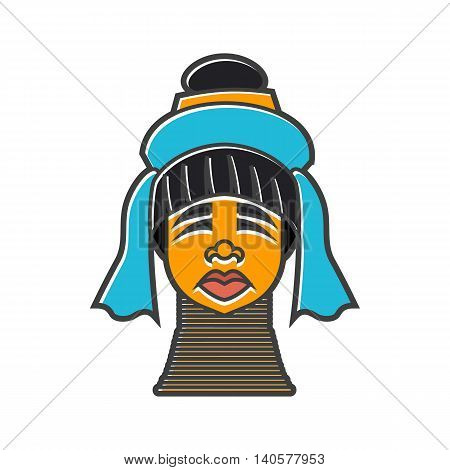 Karen long neck woman with traditional brass coils icon in flat style on a white background