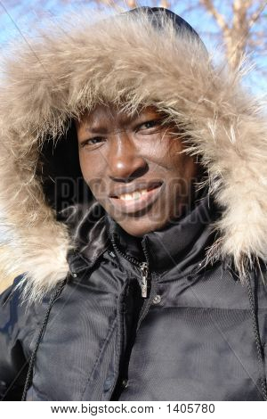 African In Winter Coat
