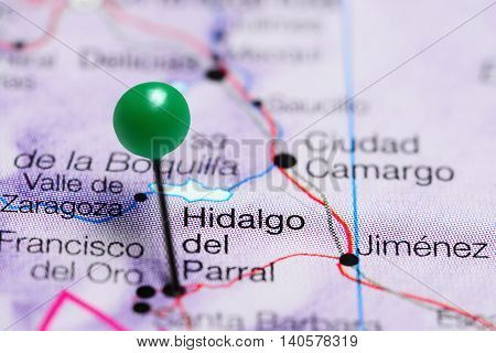 Hidalgo del Parral pinned on a map of Mexico