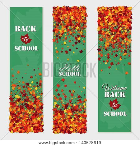 Back to school vertical banner set with falling maple leaves. Education Concept.