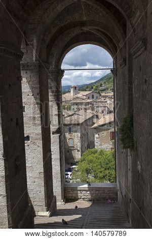Gubbio Umbria Italy, view of the columns