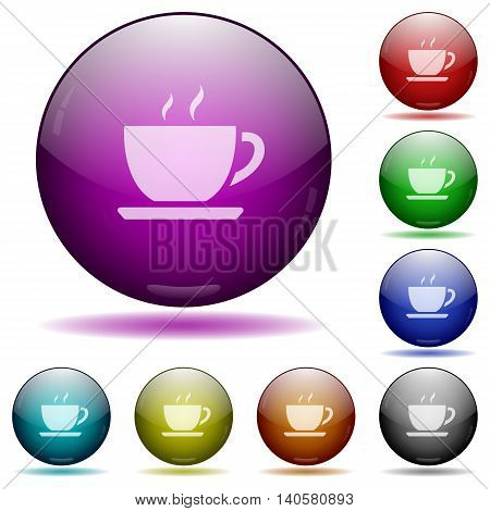 Set of color Coffee glass sphere buttons with shadows.