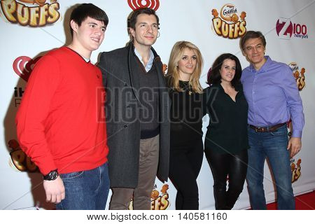 NEW YORK-DEC 12: (L-R) Oliver Oz, John Jovanovic, Daphne Oz, Lisa Oz and Dr. Mehmet Oz attend Z100's Jingle Ball 2014 at Madison Square Garden on December 12, 2014 in New York City.
