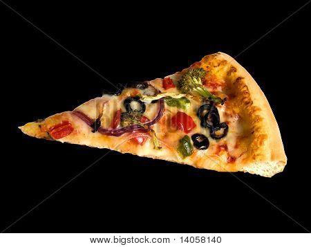 Slice of Pizza on Black