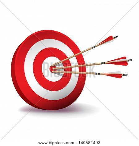 A red archery target with red and white fletched wooden arrows in the center bullseye. Vector EPS 10 available.