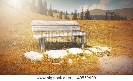 Fantasy fable scene effects applied. Bench on side walk by the Lake in the Europe and in the mountain.