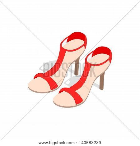 Pair of high heel red female shoes icon in isometric 3d style on a white background