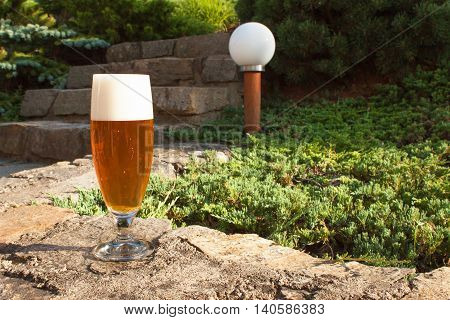 Glass of beer on a stone wall. Garden party. Beer in light of sunset. Family garden party.